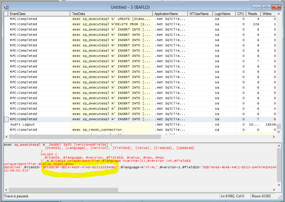 sql server profiler find publish issue